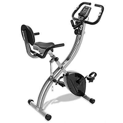 Node Fitness Stationary Folding Exercise Bike with Resistance Bands
