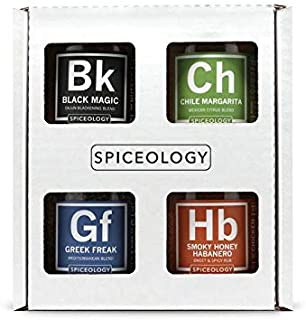 Spiceology - 4-Pack BBQ Rubs - Smoky Honey Habanero, Chile Margarita, Greek Freak, and Black Magic Grilling Spice and BBQ ...