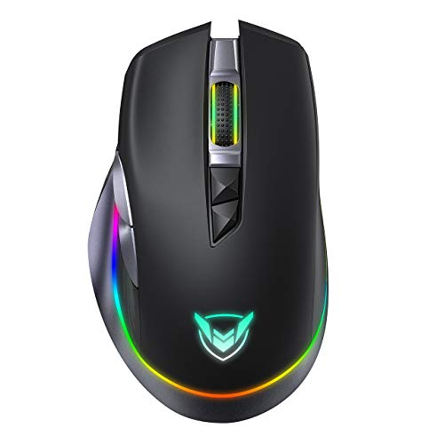 PICTEK Rechargeable Wireless Gaming Mouse, RGB Gaming Mouse, [10000DPI] [PMW3325] [1000HZ Polling Rate], Ergonomic Mouse, 8 Programmable Buttons, Fire...