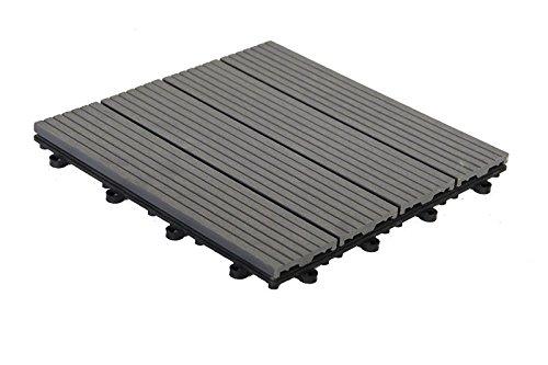 WPC terrastegels vloertegels WPC houten tegels 30x30cm, 1 m2 (11 tegels) antraciet