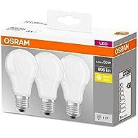 Osram Base Classic A - Lámpara LED, E27, 60W, Color cálido, Paquete de 3