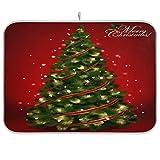 xigua Tapete absorbente para secar platos de árbol de Navidad, escurridor de platos de microfibra reversible plegable, protector para encimeras, fregaderos, mesas, etc., 16 x 18 pulgadas