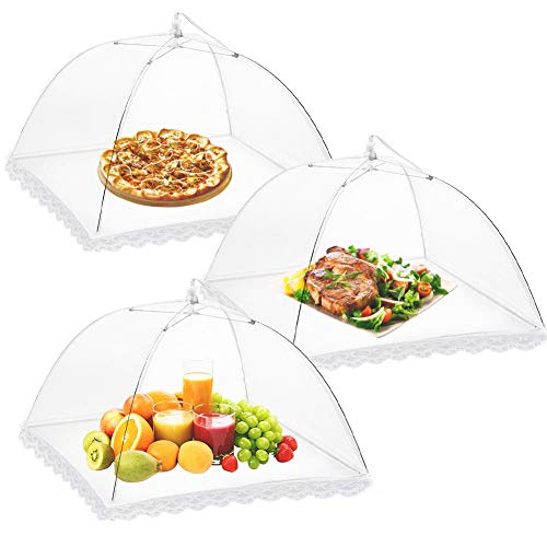 Onarway 3 Pack Food Covers 14 Inch Pop-Up Encrypted Mesh Plate Serving Tents, Fine Net Screen Umbrella for Outdoors, Parties, Picnics, BBQs, Reusable and Collapsible