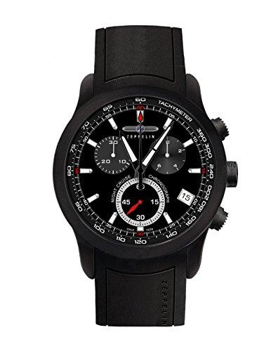 Zeppelin Herren Chronograph Quarz Uhr mit Kautschuk Armband 72902