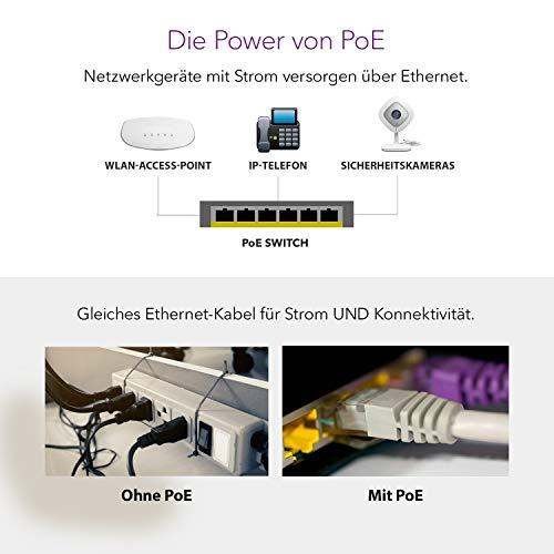 NETGEAR GS308P 8 Port Gigabit Ethernet LAN PoE Switch (mit 4x PoE 53W, Plug-and-Play Netzwerk Switch, energieeffizient, robustes und lüfterloses Metallgehäuse)