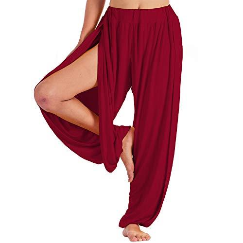Lofbaz Yoga Harem Pantalones para Mujer Boho Dance Joggers Mujer PJs Lounge Ropa Ropa de Maternidad Genie Hippie Beach Rojo Oscuro L