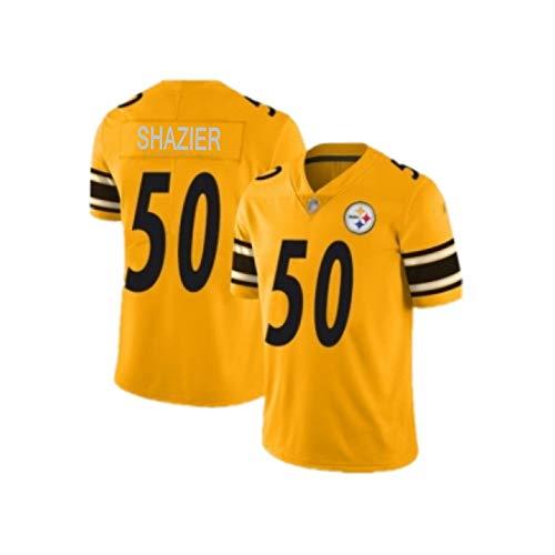 Rugby-Trikot Minkah Fitzpatrick # 39 Ryan Shazier # 50 Pittsburgh Steelers Rugby-Trikot, Unisex-Sport Kurzarm-Sweatshirt Fitness atmungsaktiv 50-2XL(190cm~195cm)