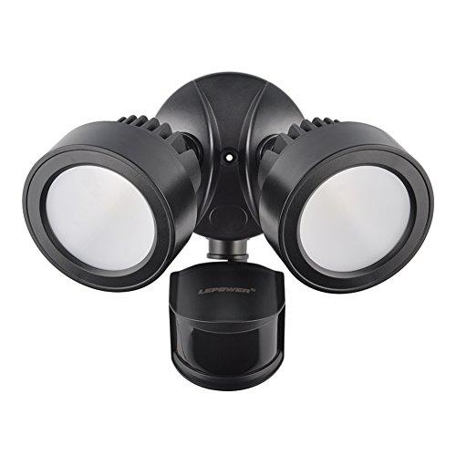 LEPOWER 2500LM Outdoor Motion Sensor Lights, 28W LED Security Lights, IP65 Waterproof, 5500K Daylight, Adjustable Dual-Head Flood Lights for Entryways, Front Door, Yard