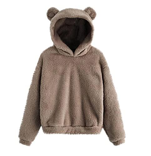 FMYONF Sudadera con capucha para mujer con forma de oso, de forro polar, para otoño e invierno, de manga larga, monocolor, estilo Kawaii, caqui, L