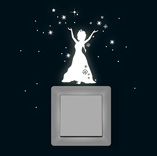 ilka parey wandtattoo-welt M1648 Sticker Mural Fluorescent pour Interrupteur Motif : La Reine des Neiges
