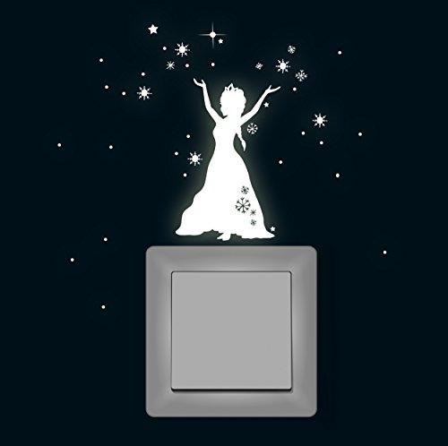 ilka parey wandtattoo welt Wandtattoo Lichtschalteraufkleber Lichtschaltertattoo Leuchtsticker Eisprinzessin Schneeprinzessin Prinzessin fluoreszierend M1648