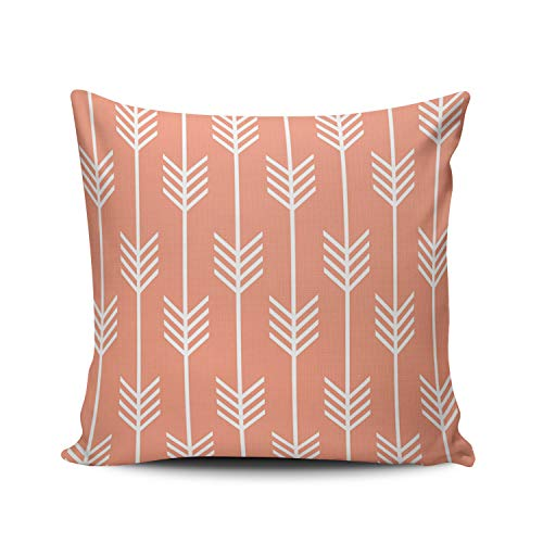 ONGING Decorative Throw Pillow Case Coral and White Modern Arrow Fletching Pattern Peach Pillowcase Cushion Cover One Side Design Printed Square Size 20x20 inch