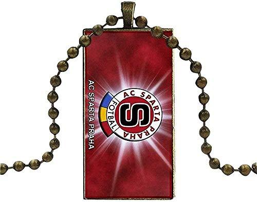 JSYHXYK Collar para Niños Color Bronce Joyas Collar De Moda Collares De Vidrio Colgantes Sparta Praha Deportes Fútbol Europeo