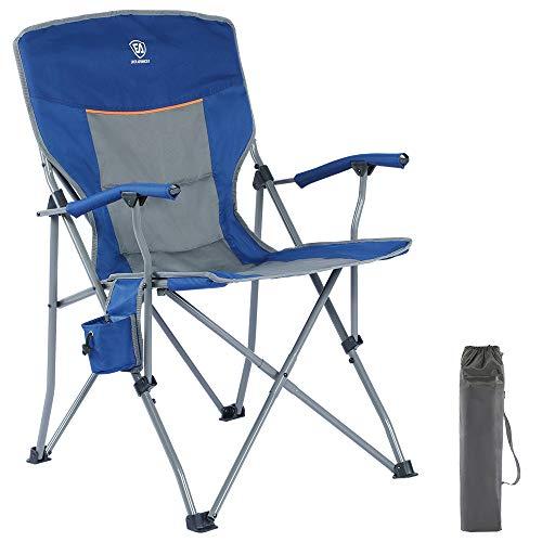 EVER ADVANCED Klappstuhl Campingstuhl gepolsterte Rücklehne Armlehne leicht faltbar Strahlrahmen Angelstuhl belastbar 135kg blau