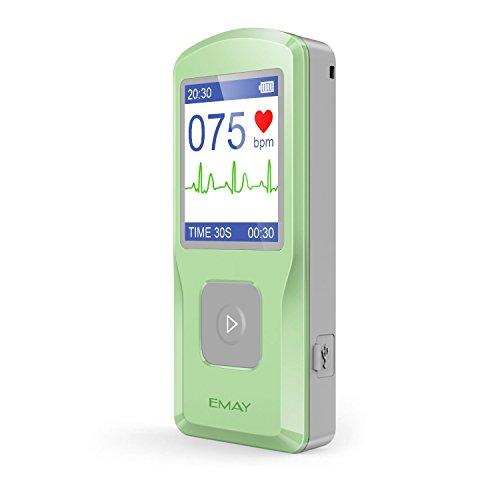 EMAY Moniteur ECG Portable, Mobile Electrocardiographe, Mesure la fréquence Cardiaque, ECG et Les symptômes