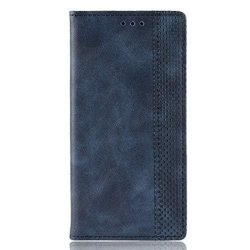 Sinyunron Klapphülle Handyhülle für Motorola Moto Z4 Hülle Leder Handytasche,Flip Lederhülle Schutzhülle Hülle Cover,Klappbar PU Ledertasche Brieftasche mit Kartenfach Geld Slot,Blau