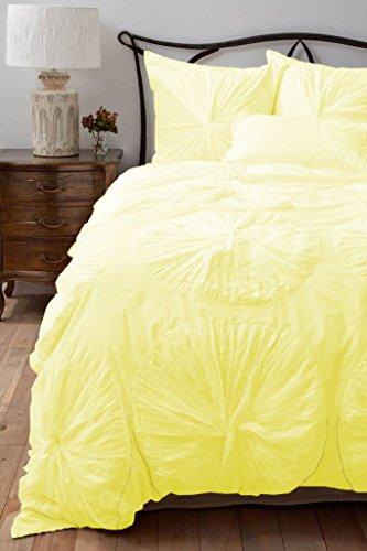 Juego de funda de edredón de flores SCALABEDDING volantes con extra fundas de almohada 500tc algodón egipcio 5piezas Juego completo/reina mantequilla
