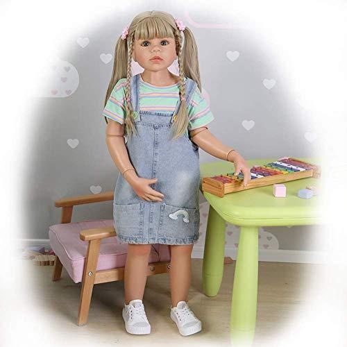 Reborn Dolls Poupée Rebirth 38 Pouces 98cm Simulation Reborn Toddler Silicone Vinyle Fille avec de Longs Cheveux blonds Modèle de Porter des Enfants Enfants Adultes Accompagner Poupée