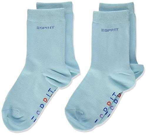 Esprit Unisex Kinder Foot Logo 2-Pack K SO Hausschuh-Socken, Blau (China Blue 6013), 35-38 (2er Pack)