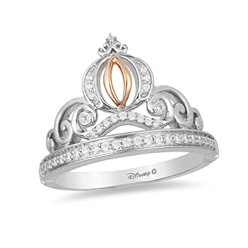 Enchanted Disney Fine Jewelry Sterling Silver and 10K Rose Gold 1/6CTTW Cinderella Tiara Ring Size 7