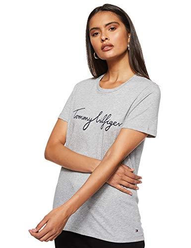 Tommy Hilfiger Damen Heritage Crew Neck Graphic Tee T-Shirt, Grau (Light Grey Htr 039), Large (Herstellergröße: L)