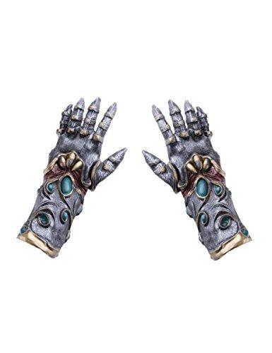 Generique - Ritterhandschuhe aus Latex hochwertiges Kostüm-Zubehör grau-türkis-Gold