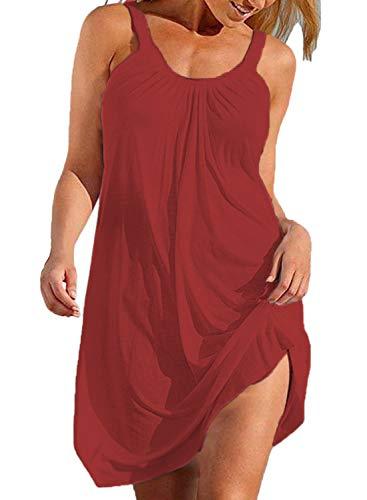 Swim Coverup Women Halter Flowy Casual Short Beach Summer Dress Sundress Red M