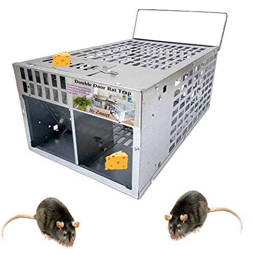 Joozer Humane Rat Trap Live Mouse Trap Indoor Animal Cage Multi Catch and Release 2 Door Large Bait Cage Reusable Chipmunks Squirrels Voles Raccoon