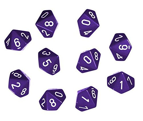 Chessex Dice Sets: Opaque Purple with White - Ten Sided Die d10 Set (10)