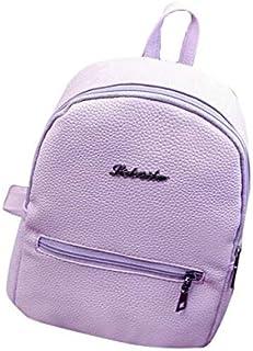 BEESCLOVER PU Leather Backpack Girls School Bag Solid Color Travel Backpack Satchel Women Shoulder Rucksack Kadn SIRT Cantasi Purple One Size