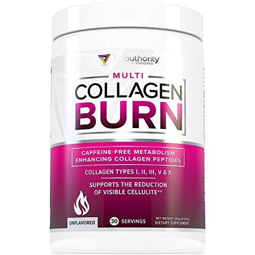 Multi Collagen Burn: Multi-Type Hydrolyzed Collagen Protein Peptides with Hyaluronic Acid, Vitamin C, SOD B Dimpless, Types I, II, III, V and X Collagen, Caffeine-Free, Unflavored, 30 Servings