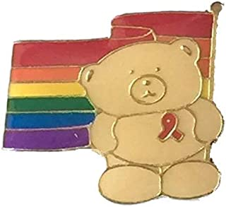 LGBT Gay Pride Rainbow rosso Bear-Pin Badge-placcato in oro