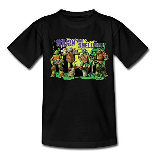 TMNT Turtles Maxin and Shellaxin Kinder T-Shirt, 110-116, Schwarz