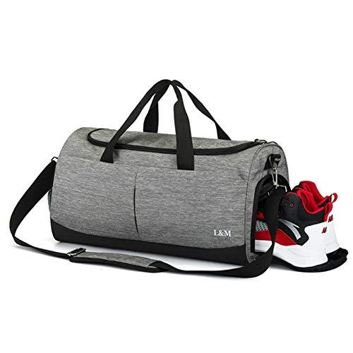 Bolsa de Deporte Bolsa de Deporte con Compartimento para Zapatos y Bolsa de Viaje con Bolsillo húmedo para Hombres y Mujeres
