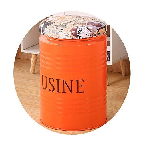 Barhocker Schmiedeeisen Aufbewahrungshocker Kreative Eimer Hocker Runde Einfache Amerikanische Mode Barhocker Schalensitz mit Bequemen Sitzkissen (33 cm) (Color : Orange)