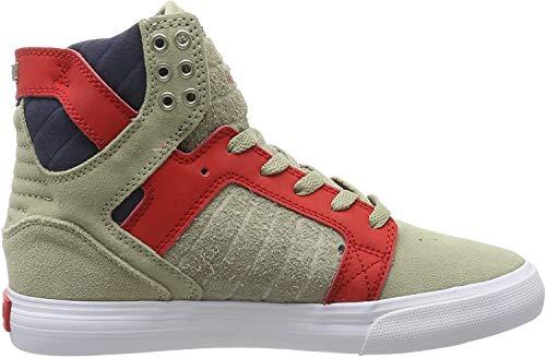 Supra Unisex-Erwachsene Skytop Hohe Sneaker, Grau (Stone/Risk RED-White-M 372), 46 EU