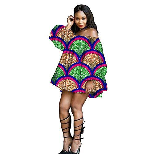 Vestidos africanos para las mujeres Ankara imprimir más el tamaño sexy corto sin tirantes vestidos de la linterna manga de la cera del algodón del partido desgaste - beige - X-Small