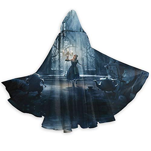 Beau-Ty and Be-AST (2) Hooded Cloak Unisex Adult Cloak with Hood Halloween Christmas Party Cloak Vampire Witch Cape Cosplay Costume Black