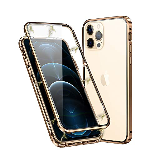 Ellmi Hülle für iPhone 12 Pro Max (6.7 inch) Fall Nicht GETRENNT Klassische Magnetische Adsorption CNC Aluminium Geschnittene Gehärtete Glasrahmenabdeckung 360 Schutz Metall Magnet - Golden
