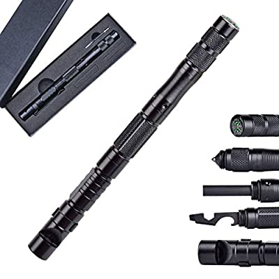 9 in 1 Tactical Pen Multitool, Ballpoint, Screw Driver, Bottle Opener, Glass Breaker, Emergency Tool Survival Gear Kit Gifts For Men Dad from Bruce LIU
