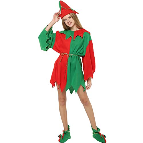 EraSpooky Elfo Babbo Natale Piccolo Aiutante Donna Natale Costume Natale Vestito (X-Large)