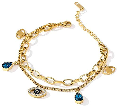 NC188 Exquisite Blue Eye Pendant Bangle Bracelet for Women Jewelry Fashion Temperament Bracelet Gift
