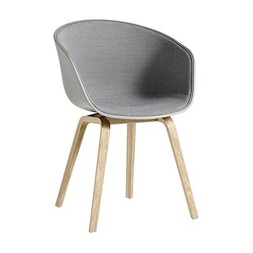 HAY About a Chair 22 met spiegelbekleding eiken 59x52x79cm/Gestell geseifte Eiche/Standardgleiter Hellgrau/Schale Betongrau/Stoff Surface 120