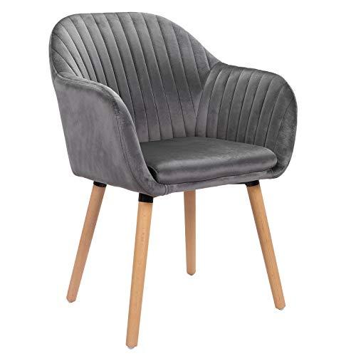 WOLTU 1x Esszimmerstühle Küchenstuhl Polsterstuhl Wohnzimmerstuhl Design Stuhl mit Armlehne Samt Massivholz Dunkelgrau BH95dgr-1