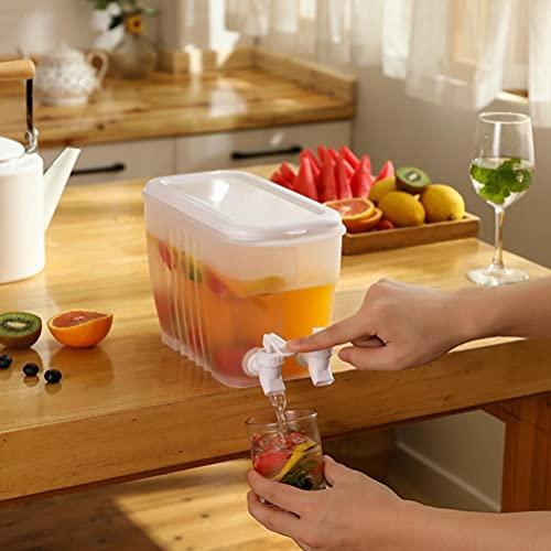 SASKATE Dispensador de agua de 4 litros con doble grifo, jarra de jugo de encimera, jarra de agua fría de verano, cubo de agua fría se aplica a agua fría, jugo, café helado, limonada