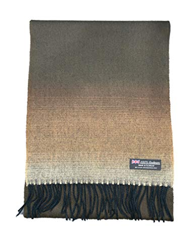 2 PLY 100% Cashmere Scarf Elegant Collection Made in Scotland Wool Solid Plaid Men Women (Brown Fade)