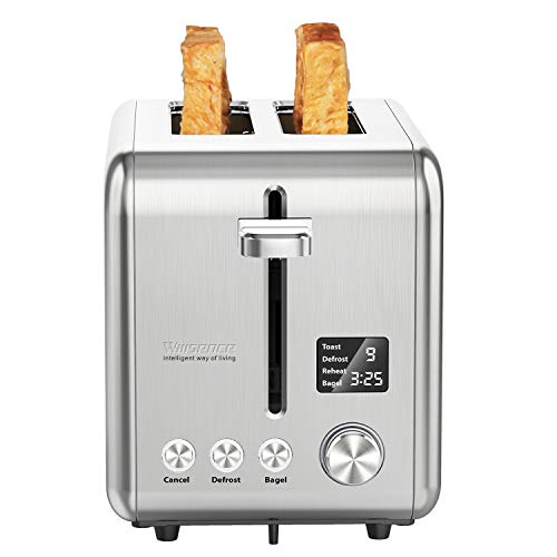 Toaster Willsence 2 Slice Toaster with LCD Display, 9 Browning Control and 6 Pre-set programs, Stainless Steel Toaster with Removable Crumb Tray, Extra Wide Slots,900W