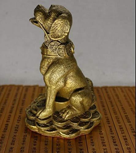 Beeldbeeld, kleine sculptuur, geld, zuiver koper, hond, ornamenten Feng Shui sterrenbeeld Gelukkige honden voor het vullen van het Noordwesten Lucky Fortune beschermt tegen drie kleine sieraden.