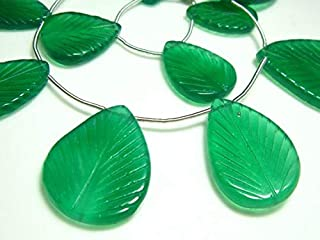 GemAbyss Beads Gemstone AA-Green Onyx Carved Large Leaves- 8 Inch Long Strand -Stones Measure- 13x17mm18x26mm Code-MVG-6568