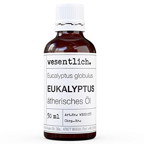 Della marca wesentlich. Olio di eucalipto, olio essenziale 100% naturale (bottiglia di vetro), per lampada profumata e diffusore (50 ml)